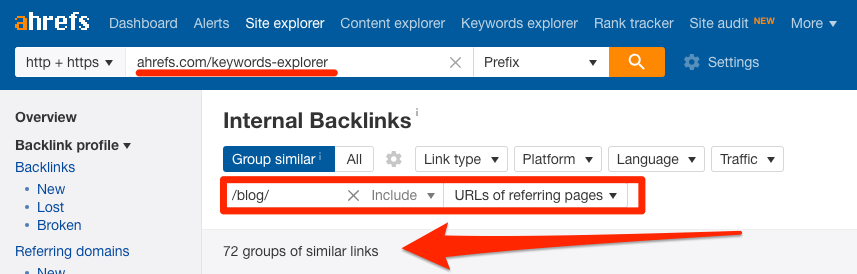 internal links to keywords explorer