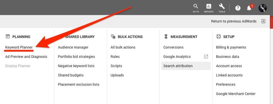 keyword planner button