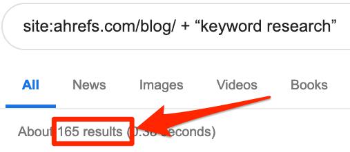 recherche de mots clés sur le site