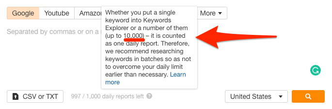 keywords explorer limits