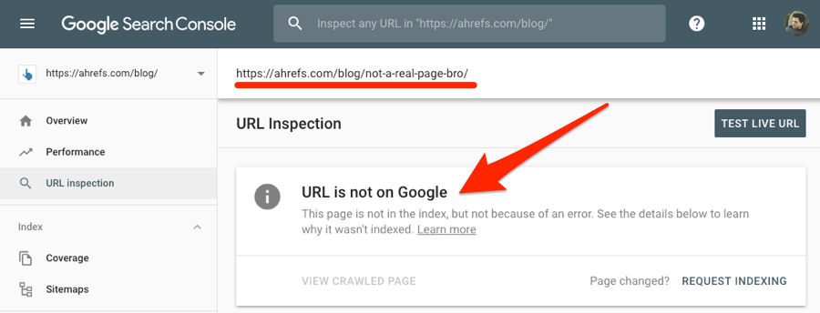 page is not on google search console
