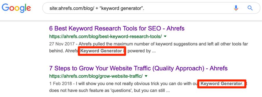 site search google keyword generator