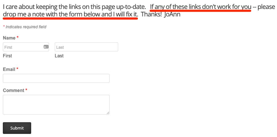 page de ressources de formulaire