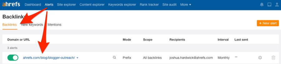 alerts backlink