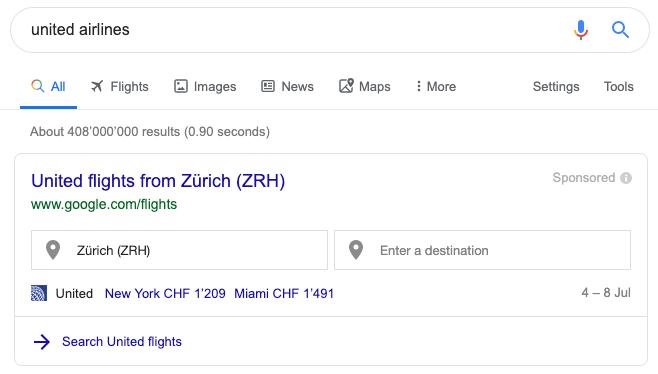 pesquisa de companhias aéreas unidas