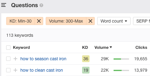 cast iron keywords filter