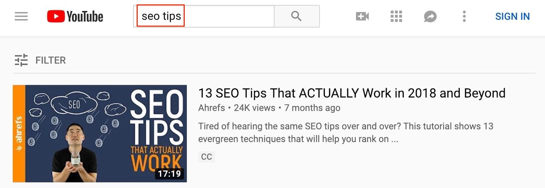 dicas de seo do YouTube