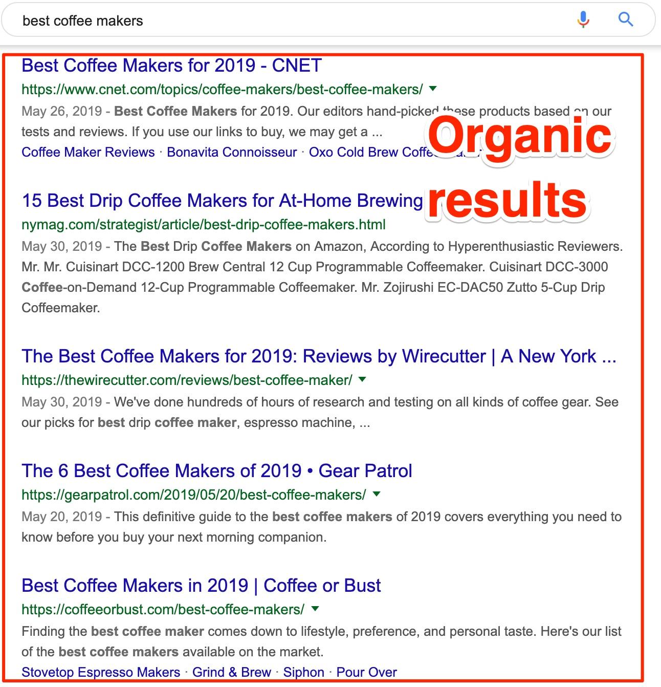 organik sonuçlar