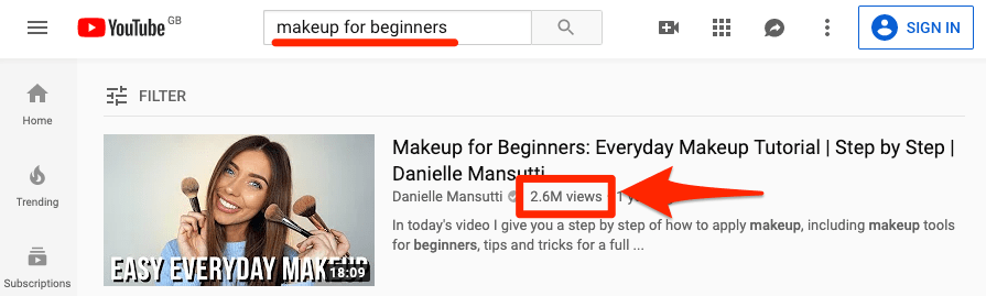 "Maquillage YouTube pour les débutants ""srcset ="" https://ahrefs.com/blog/wp-content/uploads/2019/08/youtube-makeup-for-beginners.png 895w, https://ahrefs.com/blog/wp -content / uploads / 2019/08 / youtube-makeup-for-beginners-768x231.png 768w, https://ahrefs.com/blog/wp-content/uploads/2019/08/youtube-makeup-for-beginners- 680x204.png 680w ""tailles ="" (largeur maximale: 895 pixels), 100vw, 895 pixels"