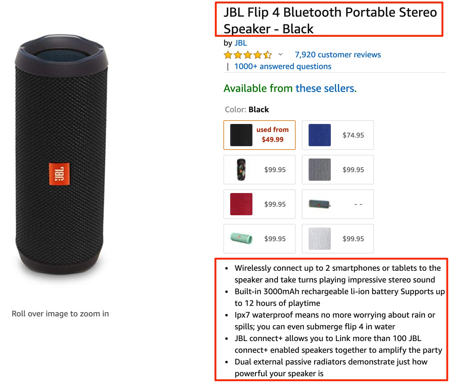 Amazon com JBL Flip 4 Bluetooth Portable Stereo Speaker Black Gateway