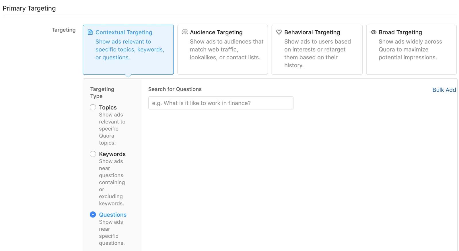 Create an Ad Set Quora