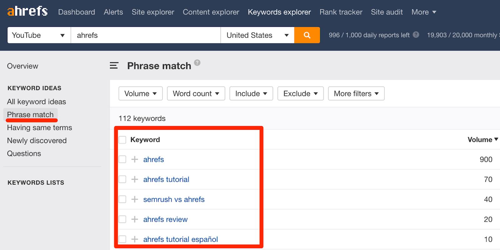 ahrefs phrase match