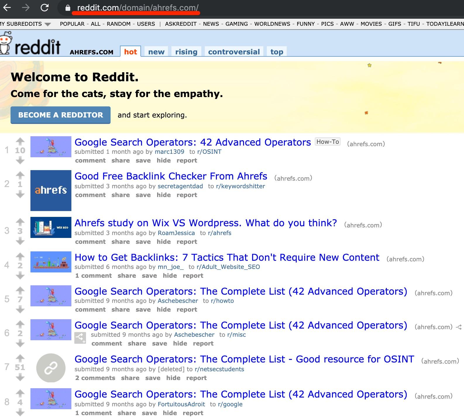 ahrefs com on reddit com
