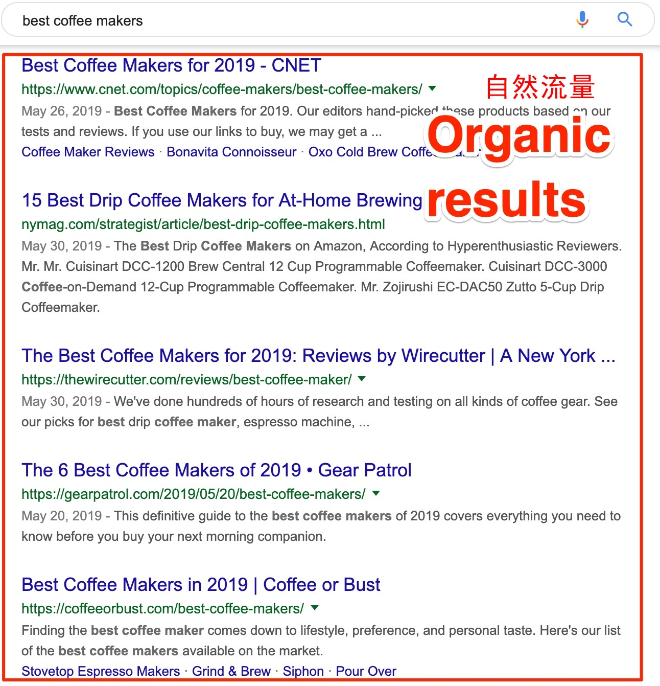organic results best coffee makers