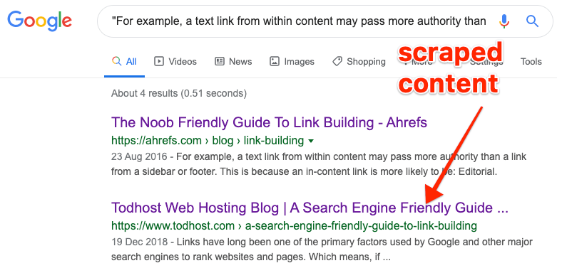 scraped content google