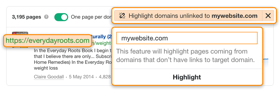 highkight unlinked domains