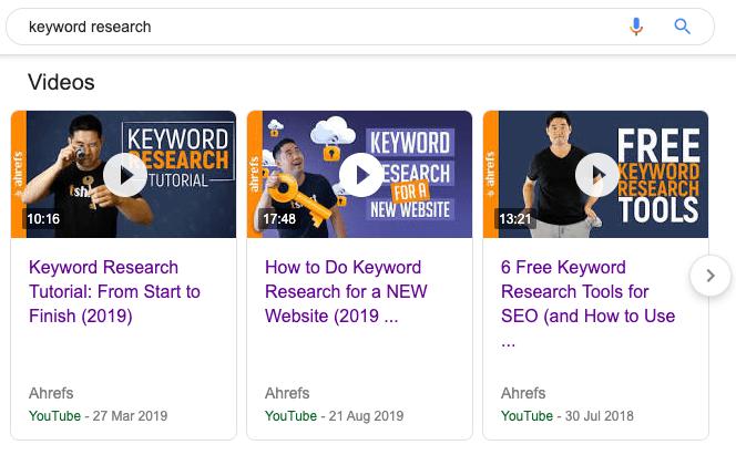 carrousel vidéo de recherche de mots clés 1