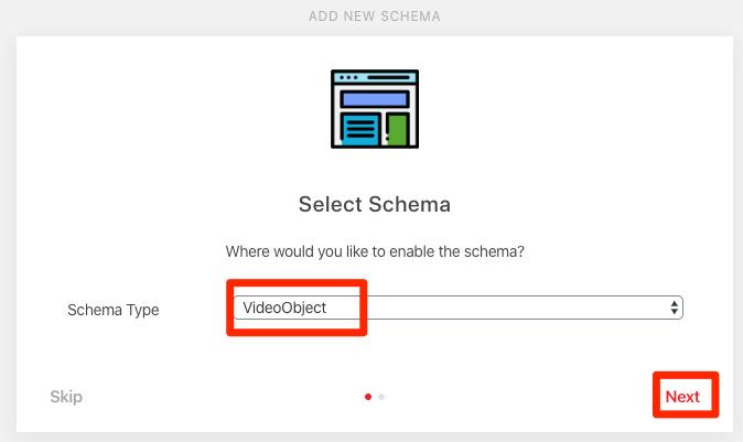 schéma d'objet vidéo sélectionnez 1