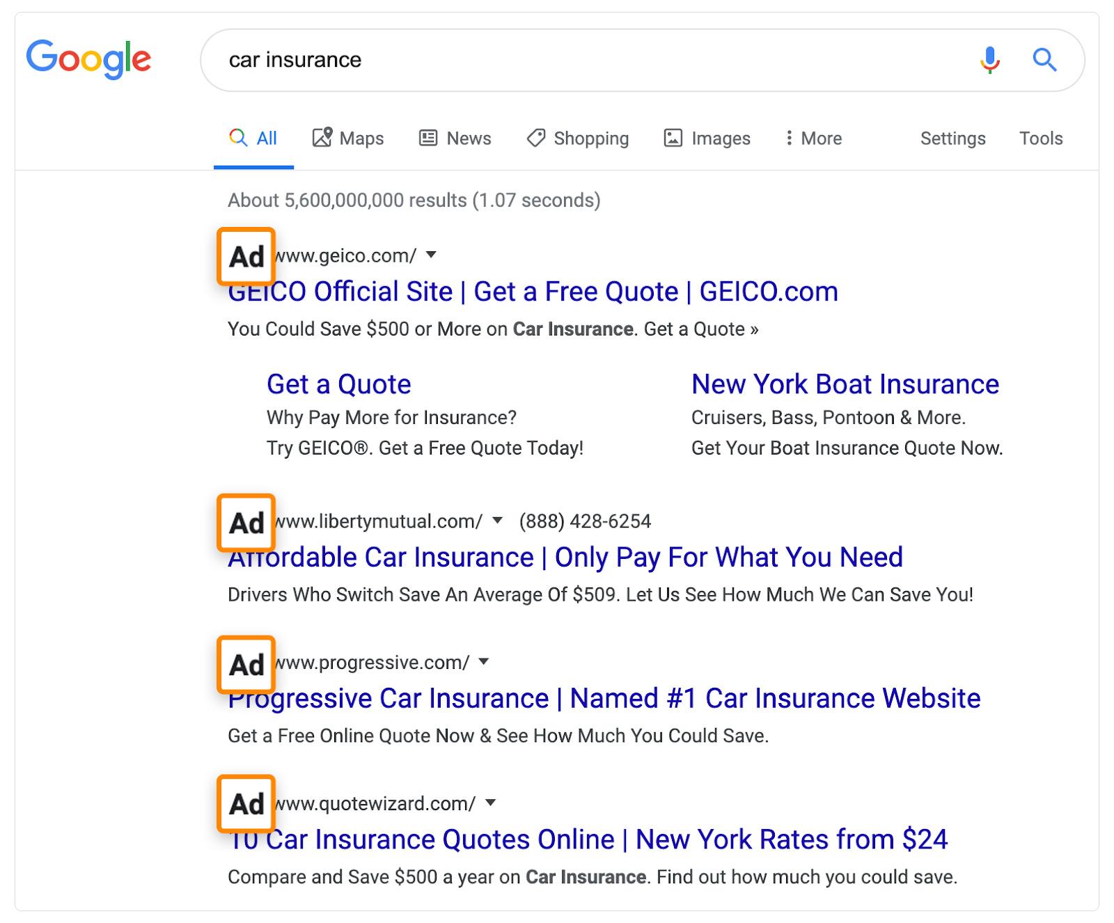 5 car insurance ads