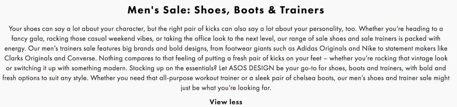 asos category description 1