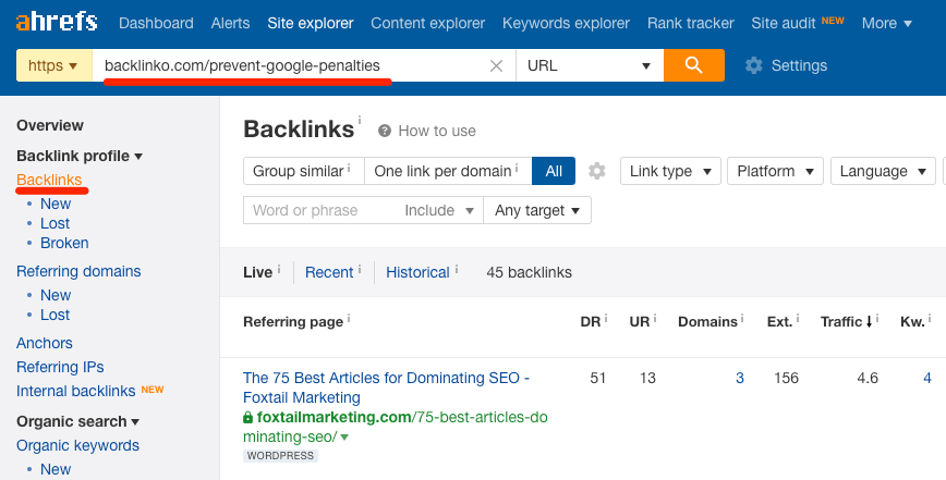 backlinks to dead page