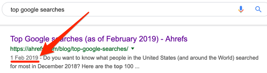 dates in serps