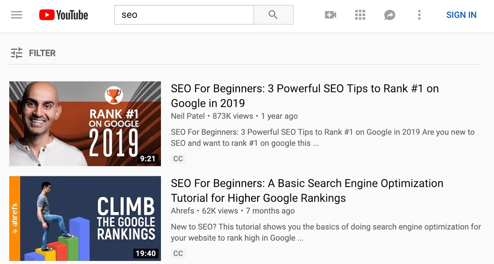 youtube search results seo