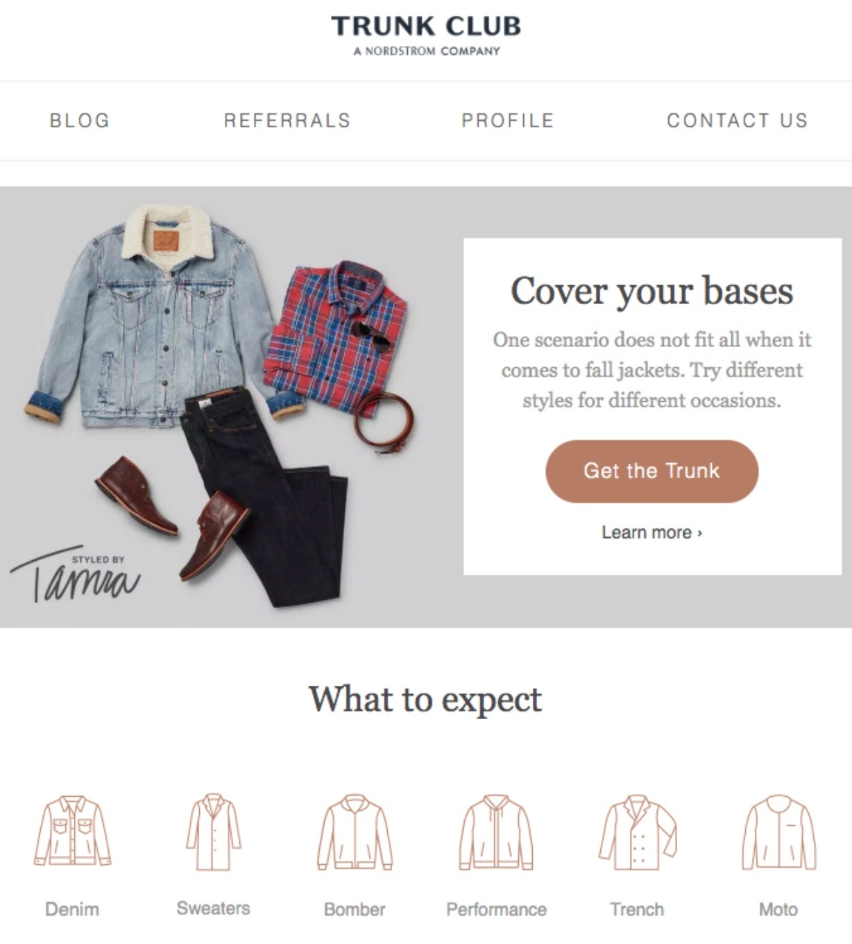 trunk club fall jacket email