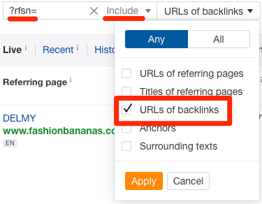 urls of backlinks include filter