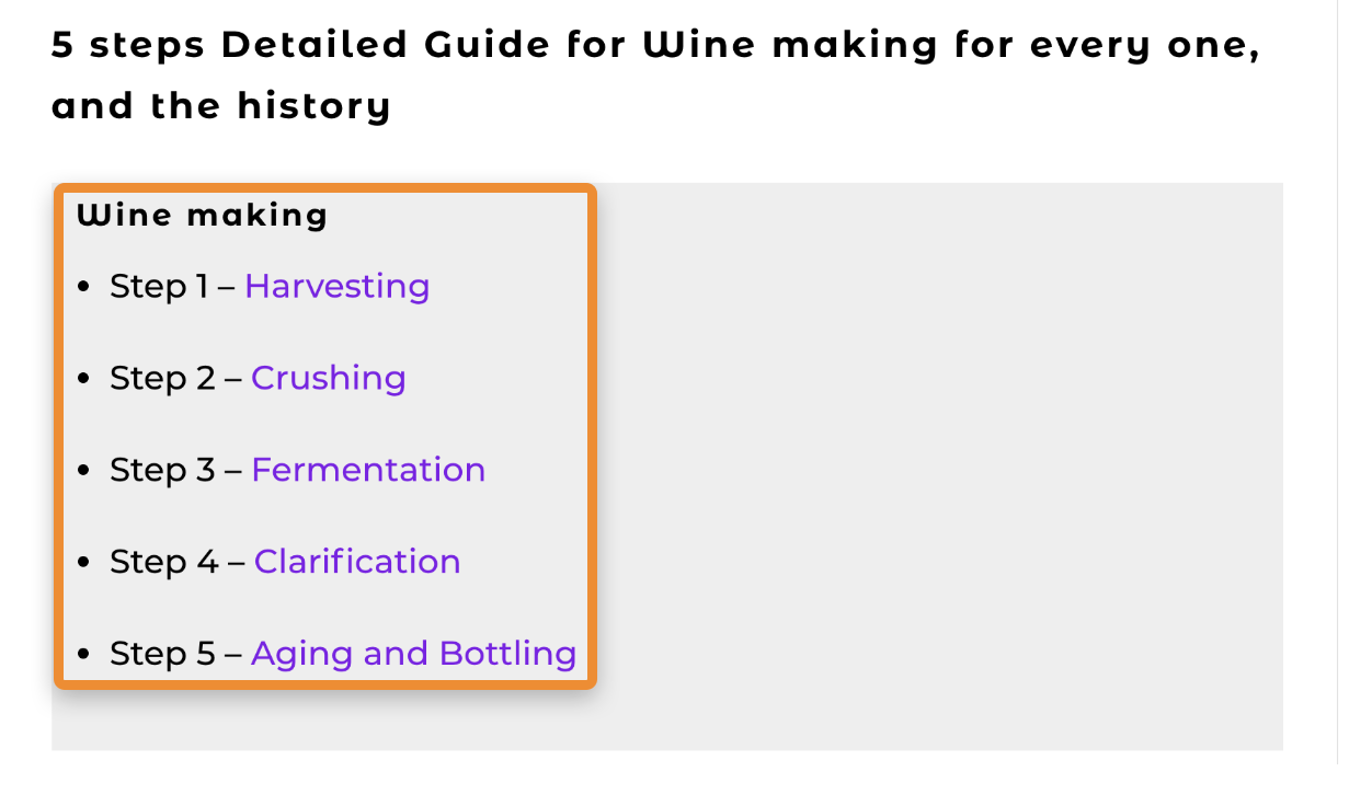 Page listing the 5 main winemaking steps
