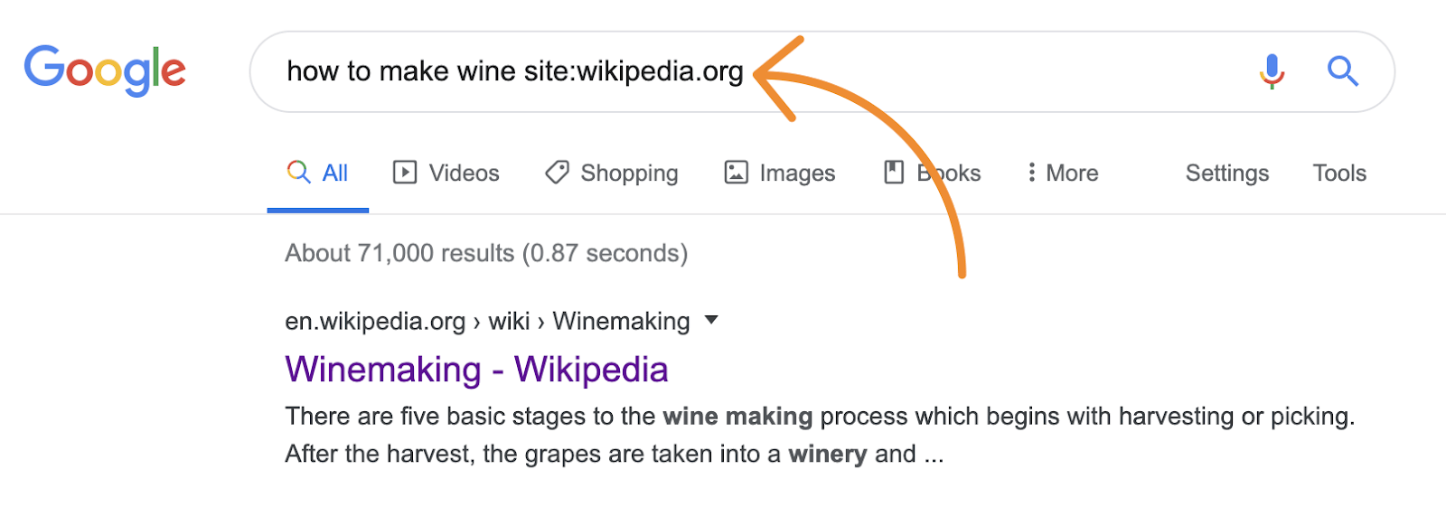 Google search for Wikipedia page about how to make wine