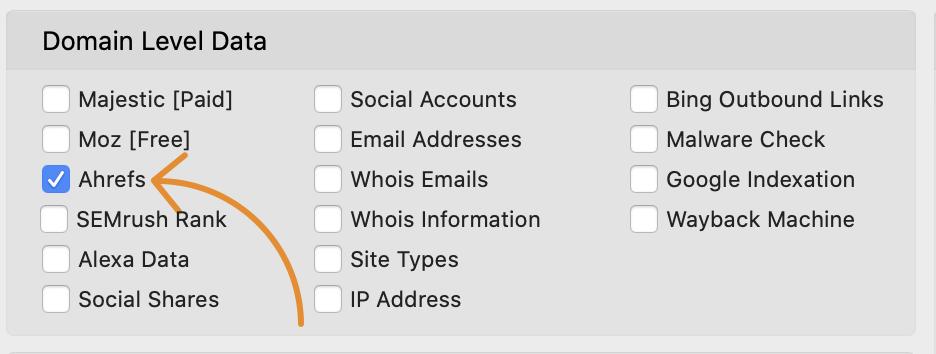 18 profils d'URL Ahrefs métriques