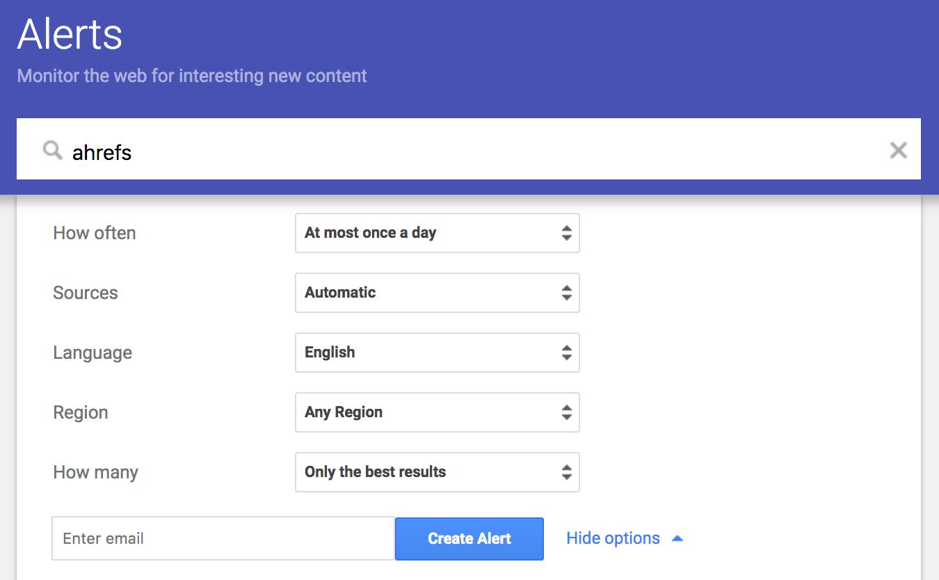 Alertas de Google Monitoree la Web en busca de contenido nuevo interesante