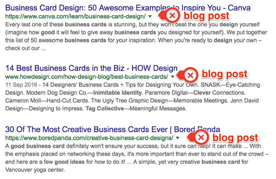 best business card ideas serps