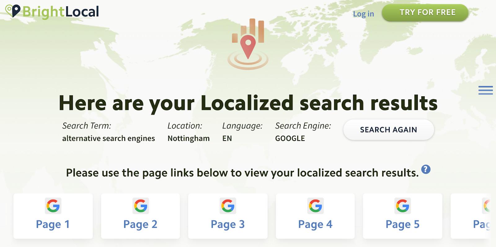 Verificador de resultados de búsqueda de Brightlocal
