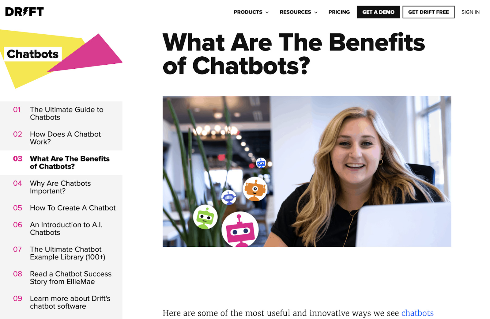 Drift's subpage about the benefits of chatbots