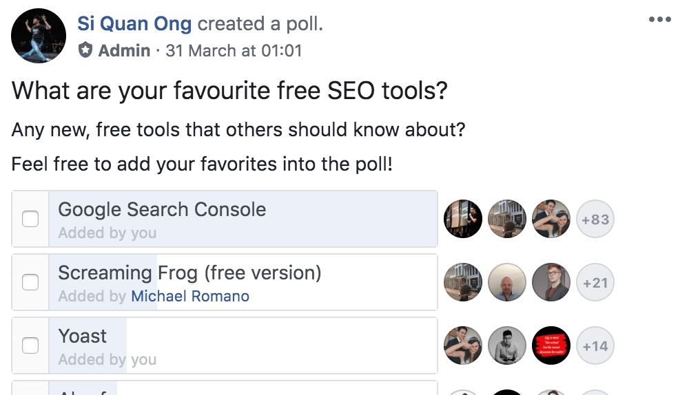 facebook seo tools poll 2