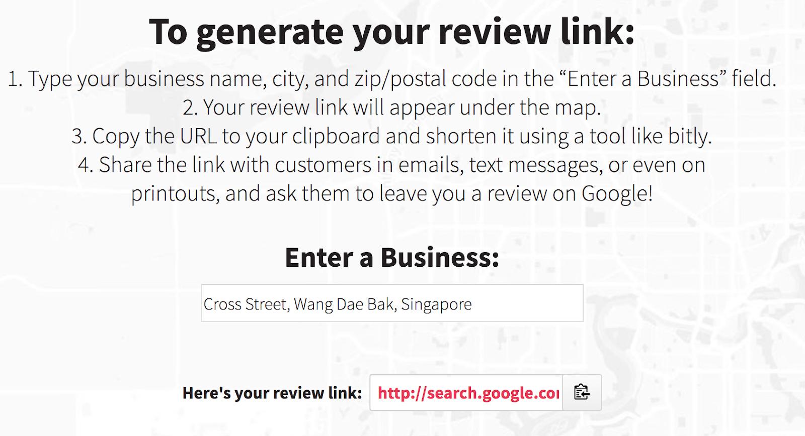 generador de revisión de negocios de whitespark google