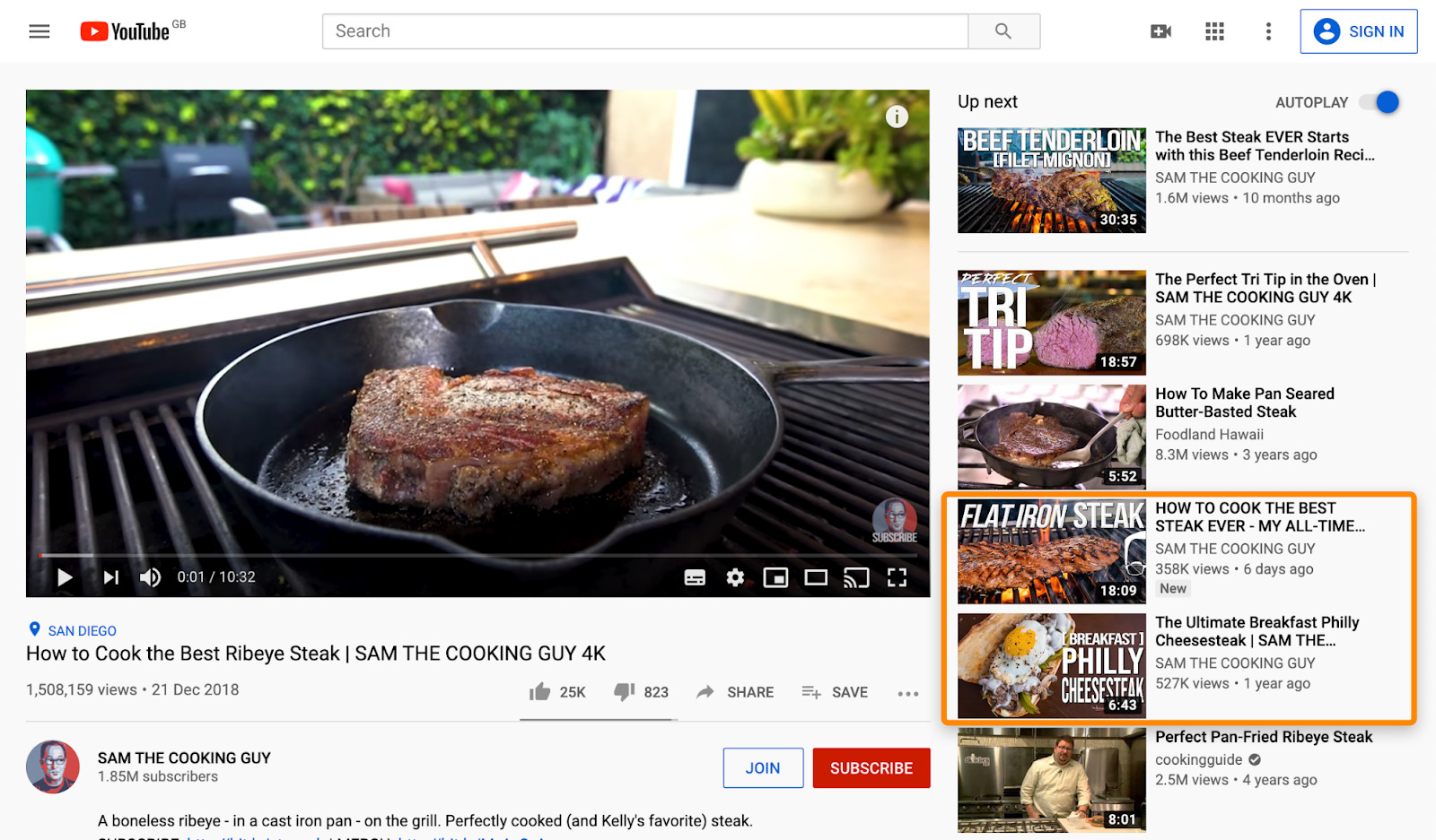 3 youtube steak recipes sidebar