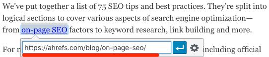 add internal link wordpress