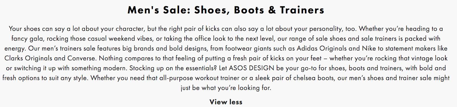 asos category description