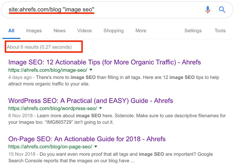 image seo google search ahrefs