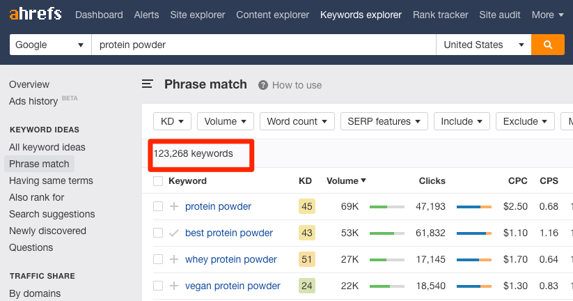 keyword ideas phrase match keywords explorer