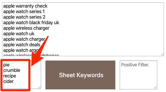 keyword sheeter negative