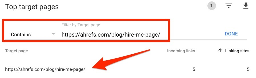 filter links search console