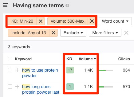 filters keywords explorer