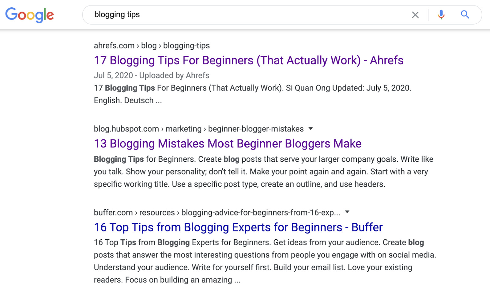 13 blogging tips serps