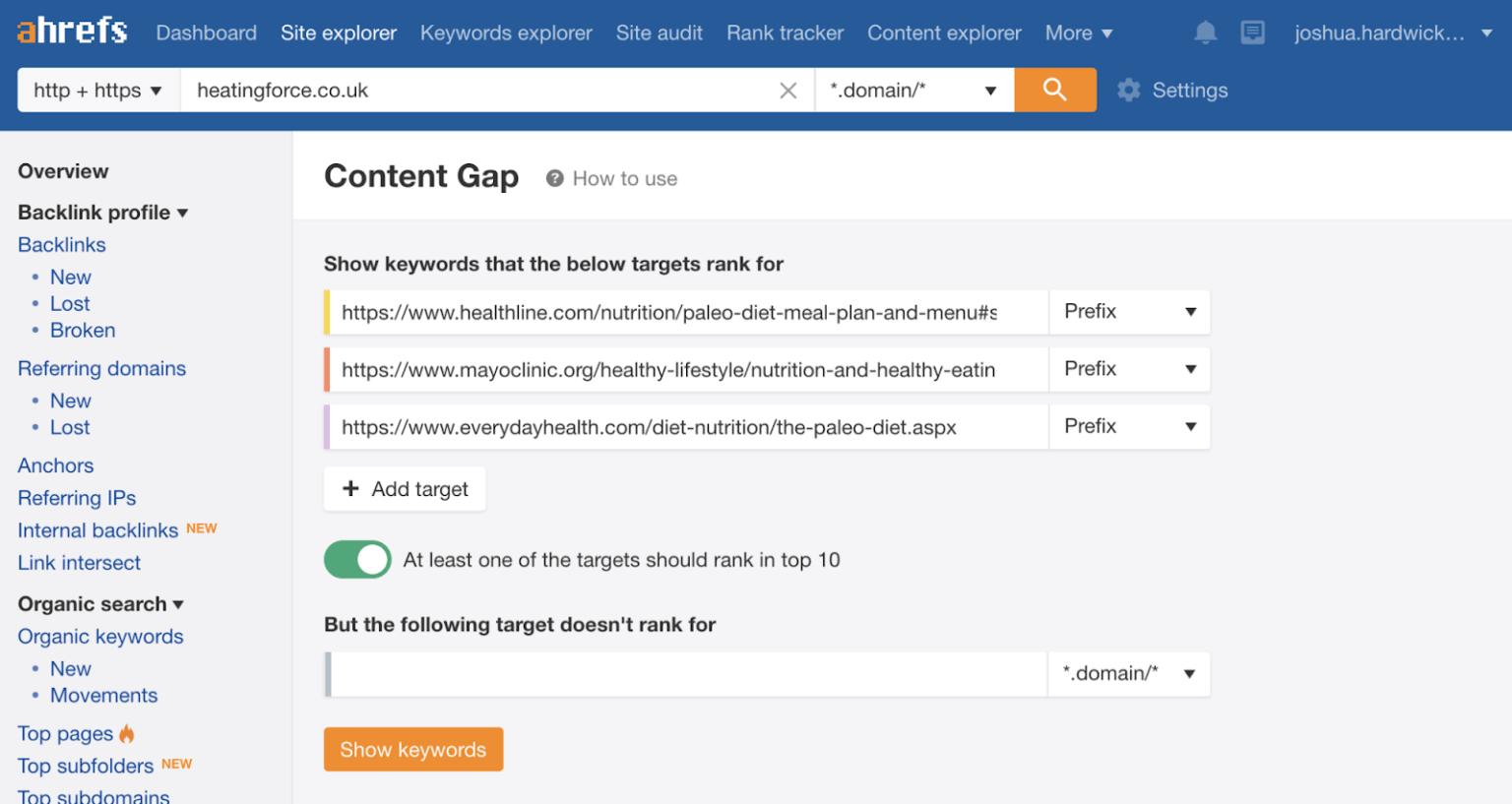 Ahrefs' Content Gap tool