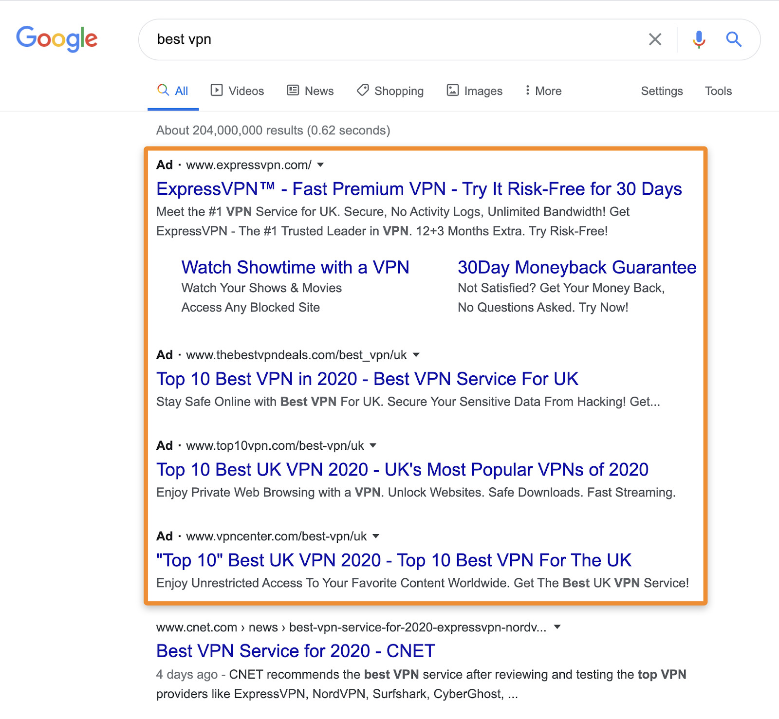 4 meilleures publicités VPN Serp