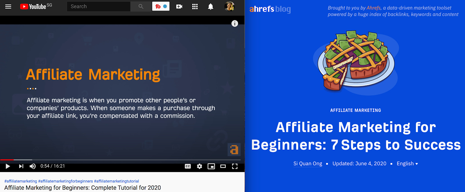 Affiliate Marketing for Beginners Complete Tutorial for 2020 YouTube and Affiliate Marketing for Beginners 7 Steps to Success